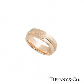 Tiffany & Co. Rose Gold Diamond T Two Ring 0.12ct E/VS